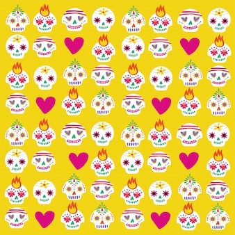 Dia de muertos card with skulls and hearts bundle