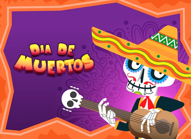 Dia de muertos celebration illustration
