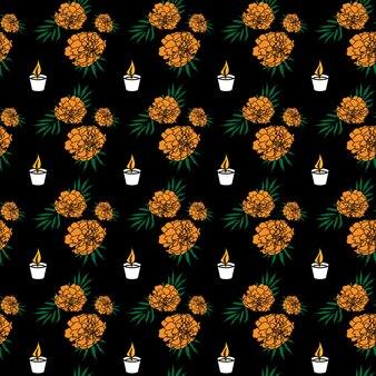 Dia de muertos 색된 완벽 한 패턴입니다. 검정색 배경에 - 귀여운 화려한 금잔화 꽃과 양초