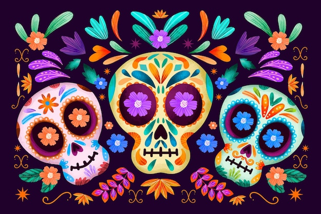 Dia de muertos colourful floral skulls background