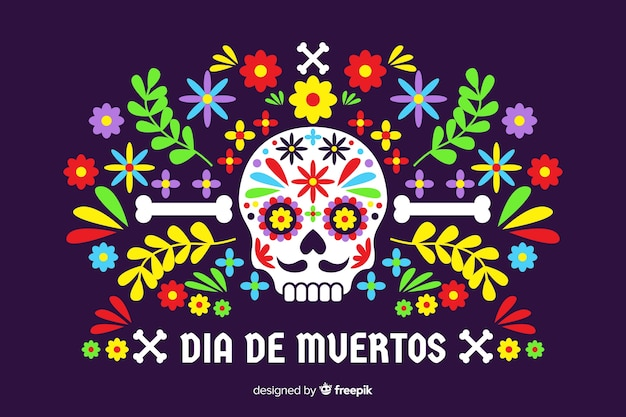 Dia de muertos concept with flat design background