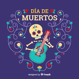 Día de muertos concept with flat design background