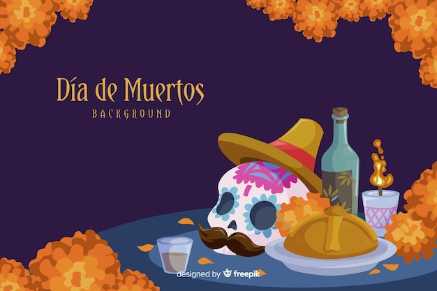 Día de muertos concept with flat design background Free Vector