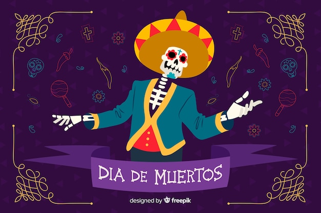 Día de muertos concept with hand drawn background