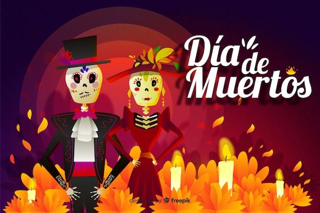 Día de muertos concept with hand drawn background