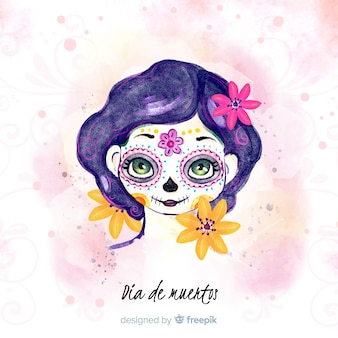 Dia de muertos concept with watercolor background