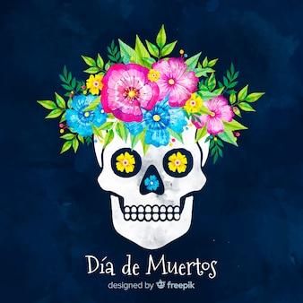 Día de muertos concept with watercolor background