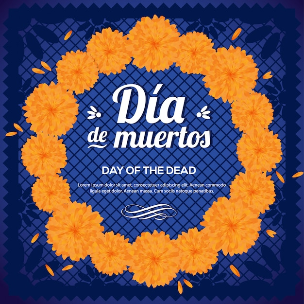 Día de muertos (day of the dead)  marigold flower wreath