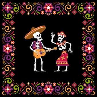 Dia de muertos day of dead ornamental frame with skeleton in sombrero and catrina calavera