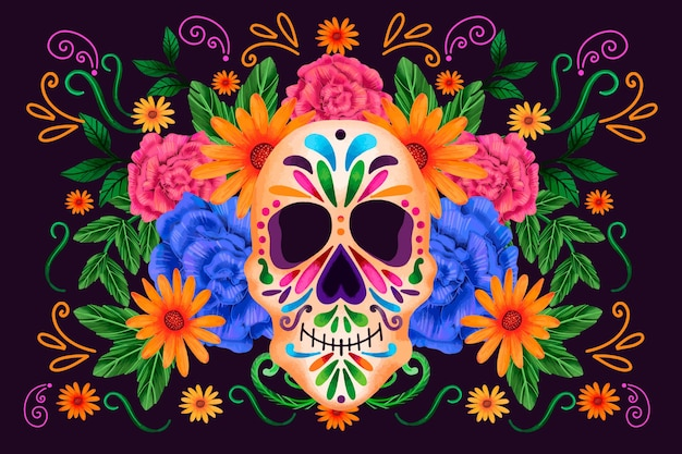 Dia de muertos front view skull with flowers background