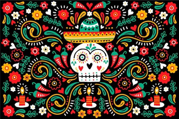 Dia de muertos вид спереди череп на фоне сомбреро