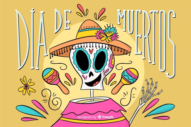 Dia de muertos hand drawn background