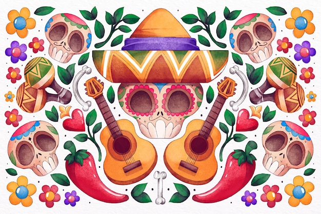Día de muertos hand drawn background