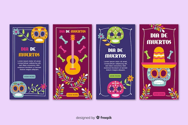 Día de muertos instagram cards collection