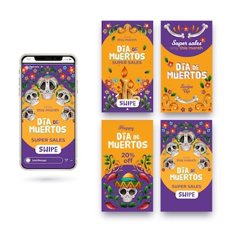 Día de muertos instagram stories set