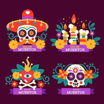 Dia de muertos label collection in flat desgin