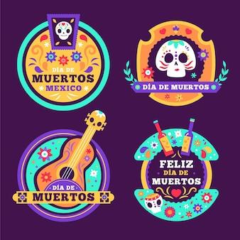 Dia de muertos label collection in flat design