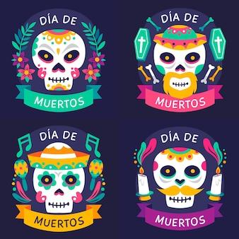 플랫 디자인의 dia de muertos 라벨 컬렉션