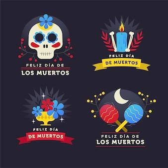 Коллекция этикеток dia de muertos в плоском дизайне