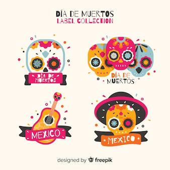 Día de muertos label collection