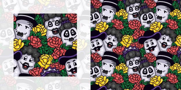 Dia de muertos 또는 장미를 가진 사람들의 죽은 원활한 낙서 패턴의 날