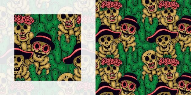 Dia de muertos 또는 선인장이 있는 해골의 매끄러운 낙서 패턴의 날
