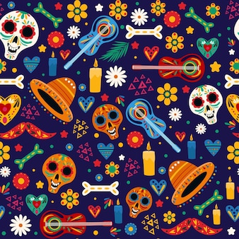 Dia de muertos pattern in flat design
