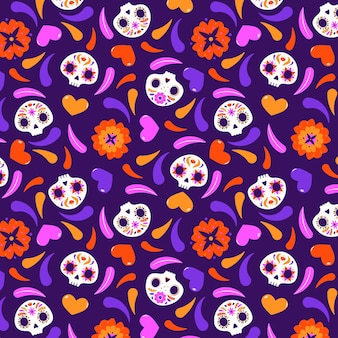 Día de muertos pattern in design piatto