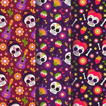 フラットデザインのdia de muertosパターン