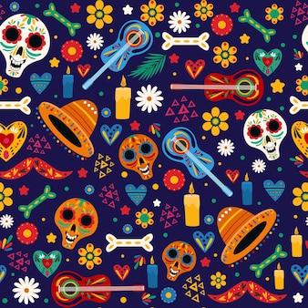 Шаблон dia de muertos в плоском дизайне