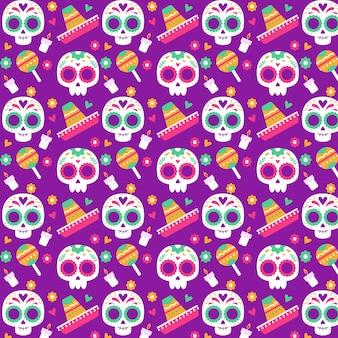 평면 디자인의 dia de muertos 패턴