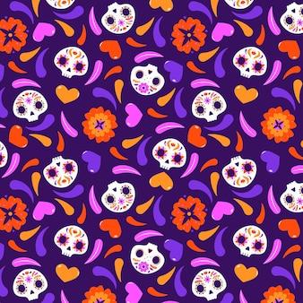 평면 디자인의 día de muertos 패턴