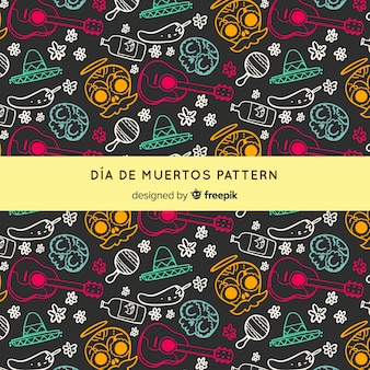 Día de muertos pattern with hand drawn elements
