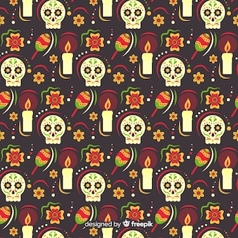Плоский дизайн dia de muertos pettern