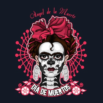 Dia de muertos santa muerte halloween illustration