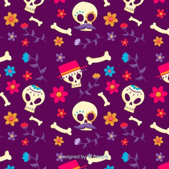 Dia de muertos seamless pattern in hand drawn design
