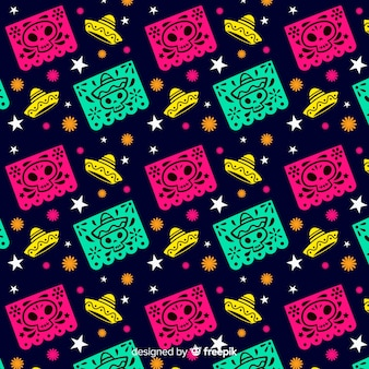 Dia de muertos seamless pattern with sombreros and skulls