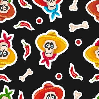 Dia de muertos seamless pattern