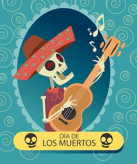 Dia de muertos skeleton mariachi