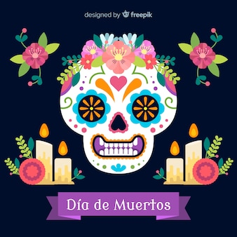 Dia de muertos skull background