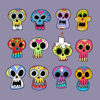 Dia de muertos skull collection.