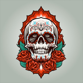 Dia de muertos skull illustration