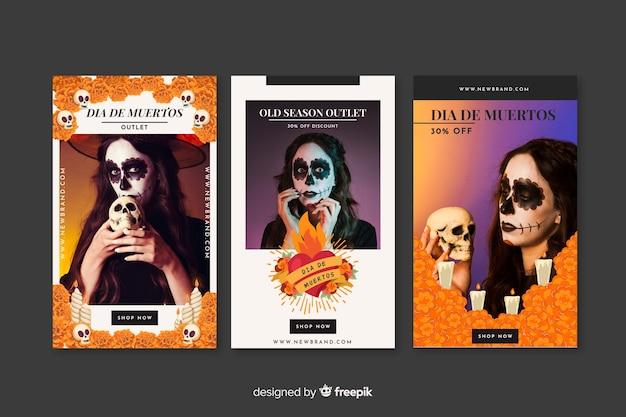 Día de muertos social media interactive posts