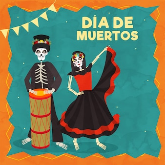 Dia de muertos text with illustration of catrina and skeleton man drummer on the occasion of day of the dead celebration.