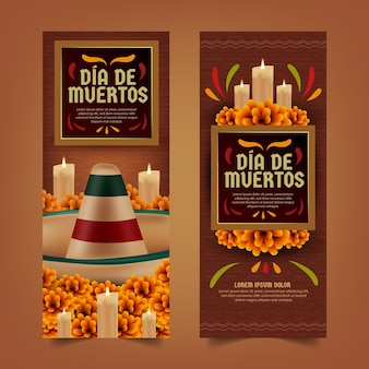 Dia de muertos vertical banners