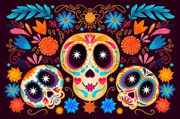 Dia de muertos watercolour skulls background
