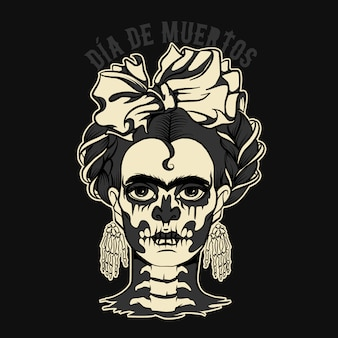 Dia de muertos woman with skeleton Premium Vector