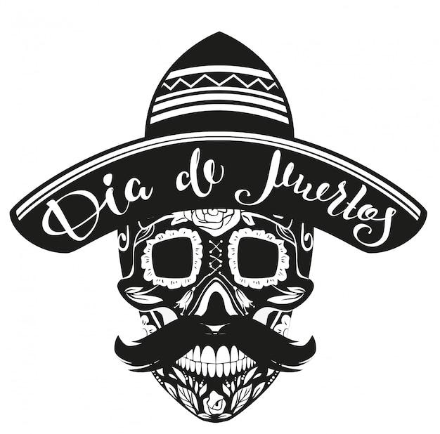 Dia de muertos день мертвых. черный череп в мексиканской шляпе