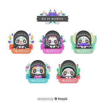 Коллекция этикетки día de muertos