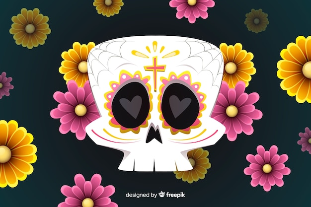 Плоский дизайн фона dia de muertos